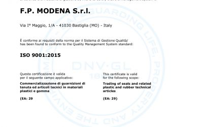FP MODENA S.r.l. receives the certification ISO 9001:2015