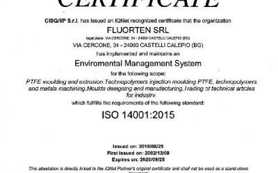 FLUORTEN S.r.l. renews the certification ISO 14001:2015