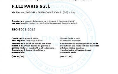 F.LLI PARIS S.r.l. a socio unico updates the certification ISO 9001:2015
