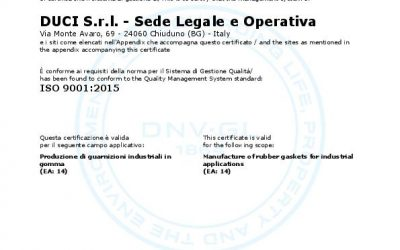 DUCI S.r.l. receives the certification ISO 9001:2015