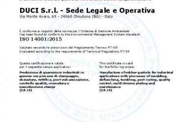 DUCI S.r.l. renews the certification ISO 14001:2015