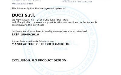 DUCI S.r.l. receives the certification IATF 16949:2016