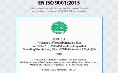DUEPI S.r.l. receives the certification ISO 9001:2015