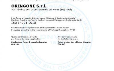 ORINGONE S.r.l. renews the certification ISO 14001:2015