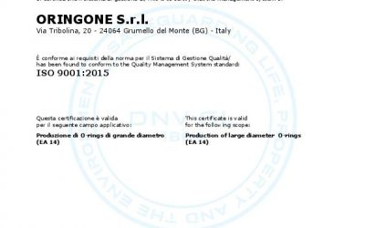 ORINGONE S.r.l. receives the certification ISO 9001:2015