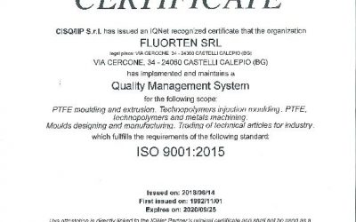 FLUORTEN S.r.l. receives the certification ISO 9001:2015