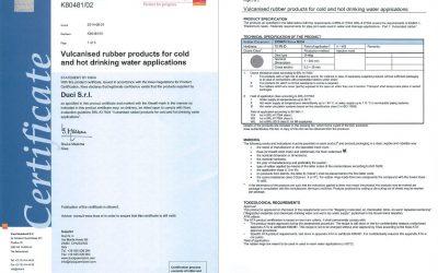 KIWA certification for EPDM 70 PEROSSIDICA M534 compound