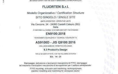 FLUORTEN S.r.l. renews the certification EN 9100:2018